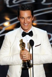 There's McConaughey holding his gong. Wait, wrong picture.