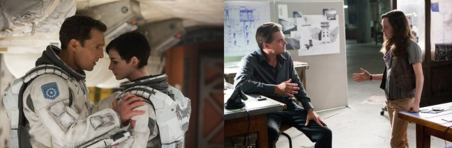 Cooper and Amelia in Interstellar (left), Cobb and Ariadne in Inception (right).
