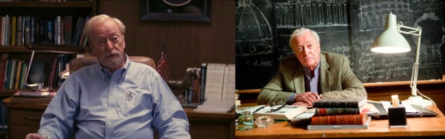 Michael Caine in Interstellar (left) and Inception (right).