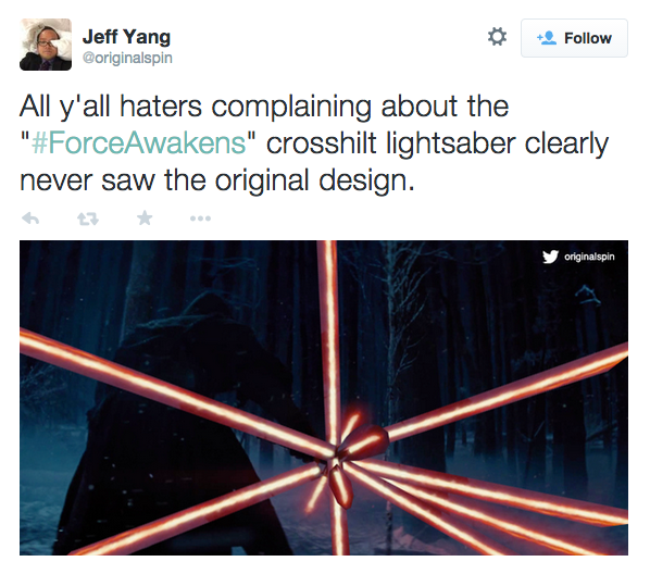 Jeff Yang Original Spin CrossHilt Tweet